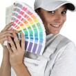 Painter with palette of colours to choose from — Stock Photo #9670450