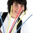 Woman holding colorful cable ties — Stock Photo