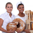 Two bakery workers — Stock Photo
