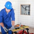 Installation of plumbing — Stock Photo #9673051