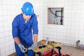 Installation of plumbing — Stock Photo