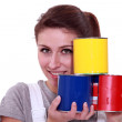 Stock Photo: Painter with paint cans