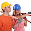 Two builders pointing — Stock Photo #9681517
