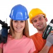 Stock Photo: Couple ready for diy