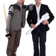 Craftsman and businessman posing together — Stock Photo