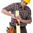 Stock Photo: Joiner at work