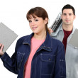 Stock Photo: Couple with tile cutter