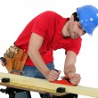 Royalty-Free Stock Photo: Man planning plank of wood