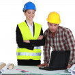 Businesswoman and craftsman examining a project — Stock Photo #9683054