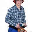 Man using angle grinder — Stock Photo #9683122