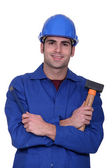 Worker with a mallet — Stock Photo