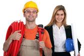 Trabalhadores da construção civil — Fotografia Stock