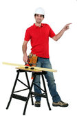 Carpenter with work-bench — Stock Photo
