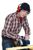 Man using circular saw — Stock Photo