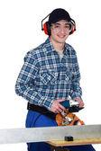 Man using angle grinder — Stock Photo