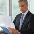 Senior businessman going over important documents — Stock Photo #9703665