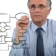 Stock Photo: Man drawing an organization chart