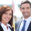 Couple in front of airplane — Stock Photo #9705441