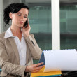 Businesswoman talking on her cell and looking at her agenda - Stock Photo