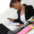 Businesswoman working at home — Stock Photo