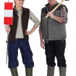 Laborer and female trainee — Stock Photo