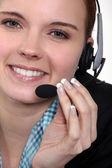 Close-up shot of a call centre agent — Stock Photo