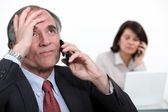 Stressful telephone call — Stock Photo