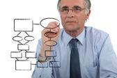 Man drawing an organization chart — Stock Photo