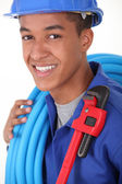 Portrait of young black plumber — Stock Photo