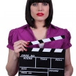 Brunette movie director - Stock Photo