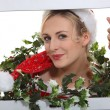 Christmassy woman inside a television set - Stock Photo