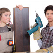 Stock Photo: Children dressed as carpenters
