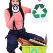 Woman promoting recycling. — Stock Photo