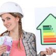 Woman holding energy score card and cash - Stock Photo