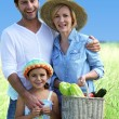 Parents and their daughter in a wheat field — Stock Photo