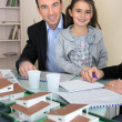 Stock Photo: Father and daughter in architect firm
