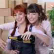 Stock Photo: Two female flat-mates celebrating move