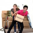 Playful couple moving house — Stock Photo