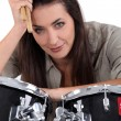 Stock Photo: Female, drummer