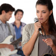 Music group rehearsing — Stock Photo
