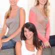 Portrait of three young girls — Stock Photo