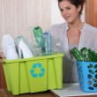 Glass and plastic recycling — Stock Photo