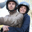 Couple on motorcycle — Stock Photo
