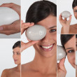 Stock Photo: Various shots of womwith soap