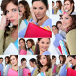 Stock Photo: Montage of female students worried about exams