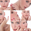 Collage of portraits of a young blond woman — Stock Photo