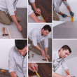 Man installing hard-wood flooring - Stock Photo