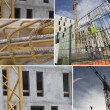 Montage of crane on construction site — Stock Photo