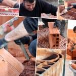 Mosaic of mason working on site — Stock Photo #9748671