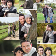 Montage of married couple walking through the park in autumn - Stock Photo